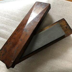 "Vintage Chisel Hone Sharpening Stone Wood Box Oilstone Whetstone Carpentry 11"""