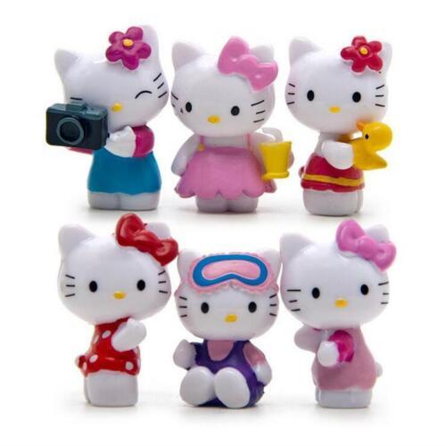 6pcs HelloKitty Action Figure Summer Cool KT Cat DIY Micro landscape New Kid Toy
