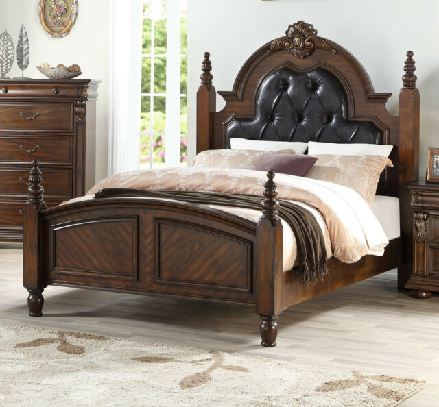 Contemporary Leatherette Tufted Cal, Cherry Veneer Bedroom Furniture