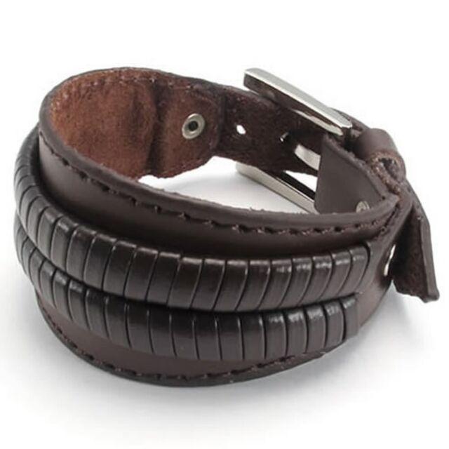 Mens Wide Genuine Leather Bangle Cuff Bracelet, Punk Rock Style KB987
