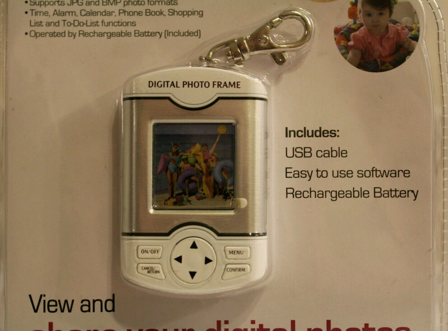 Studio 35 Digital Photo Frame Keychain Rechargeable Battery Cable