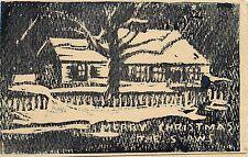 Handmade Woodblock Print Card Snowy House, Tree Merry Christmas from Shaws c1940