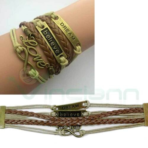 Bracciale braccialetto pelle corda metallo BELIEVE DREAM LOVE credi sogna ama