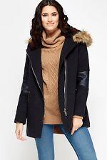 BNWT imitación piel con capucha Abrigo Con Capucha Cremallera negro-tamaño 10