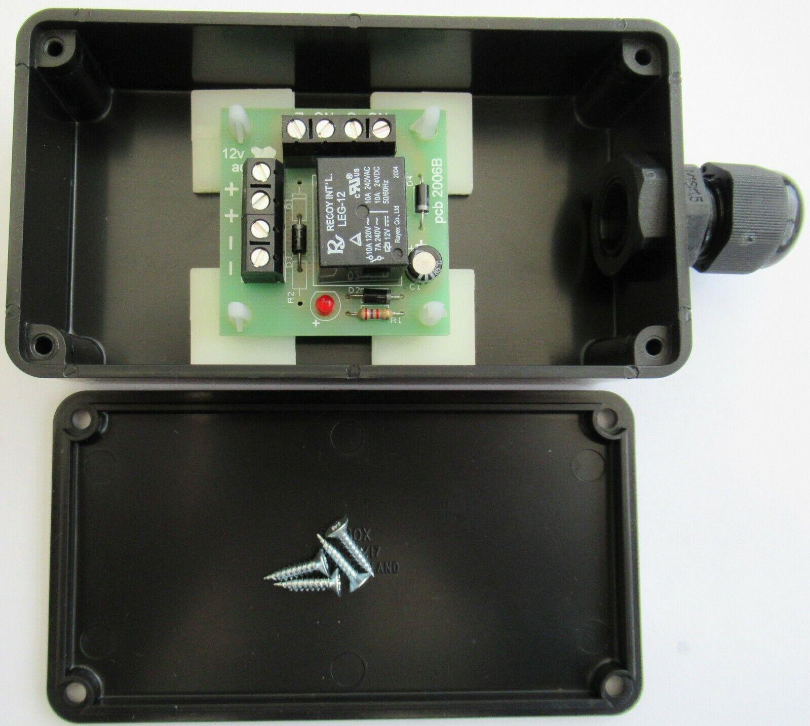 12v ac/dc Mini Handy little Relay board in a black box c/w cable gland