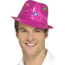 Women's Men's Pink Light Up Sequin Trilby Fancy Dress Hat Hen Stag LGBT Fun