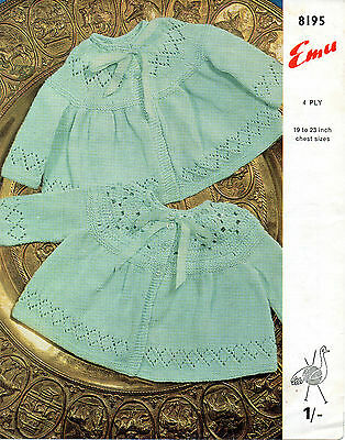 "Emu 8682 Vintage Baby Knitting Pattern 18-19/"" Cardigan 3-12 months 4 ply"