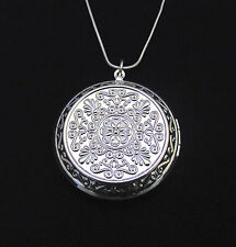 "925 Sterling Silver 1.75"" Round Locket Pendant Necklace Photo & 18"" Snake Chain"
