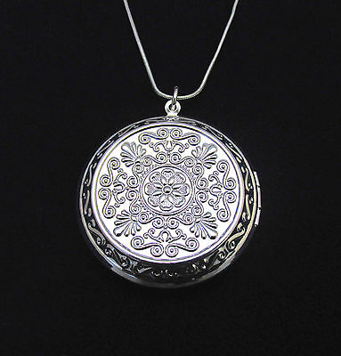 """925 Sterling Silver 1.75"""" Round Locket Pendant Necklace Photo & 18"""" Snake Chain"""