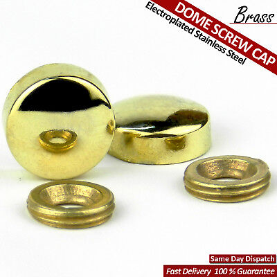 BRASS ELECTROPLATED GOLD MIRROR SCREW CAPS THREADED BRASS DOME SCREW CAPS NAIL