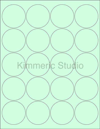 "6 SHEETS 2/"" ROUND BLANK GREEN STICKERS LABELS CUSTOM PERSONALIZE KIMMERIC STUDIO"