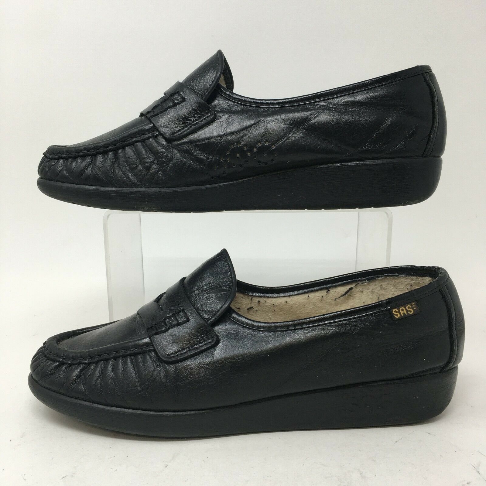 SAS Moc Toe Penny Loafer Wedge Womens 7 Black Leather Slip On Comfort Shoes