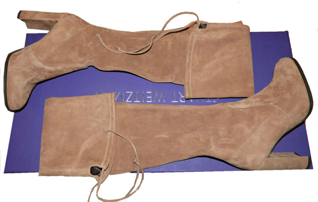 $790 Stuart Weitzman Hiline Over the Knee Boot Suede Boots Thigh High Booties 8