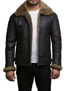 a705fee5d88 Brandslock Mens Genuine Sheepskin World War 2 Pilot B3 Flying Jacket ...