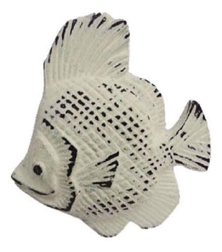 "Distress Cream Iron Fish Shaped Drawer Knob 2.5/""l Set of 2 Nautical Pull White"
