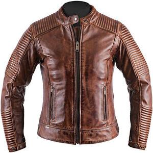 5219c3d1a7a4 Men Biker Vintage Motorcycle Cafe Racer Cow Hide Brown Distressed ...