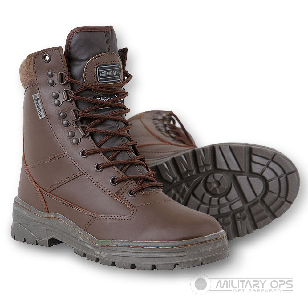 ARMY FULL LEATHER COMBAT PATROL BOOT BROWN CADET MTP SAS NEW