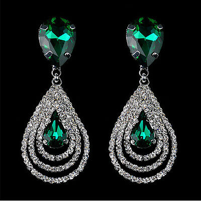 Womens Sparkling Crystal Teardrop Dangle Drop Studs Rhinestone Hoop Hot Earrings