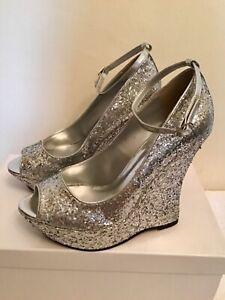 glitter peep toe wedge