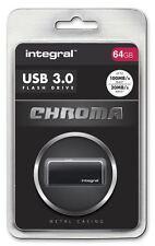 Integral 64GB CHROMA USB 3.0 Capless Flash Drive in Black. INFD64GBCHR3.0BK
