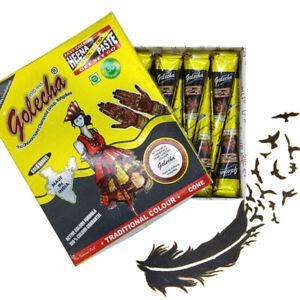 12-BLACK-Color-Herbal-Henna-Cones-Temporary-Tattoo-Body-Art-Ink-Mehandi-25-grams