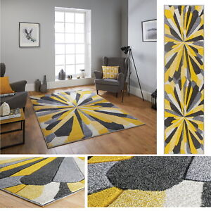 Details About Portland Ochre Yellow Grey Sunburst Rugs Hall Runner Contemporary Stylish Rug