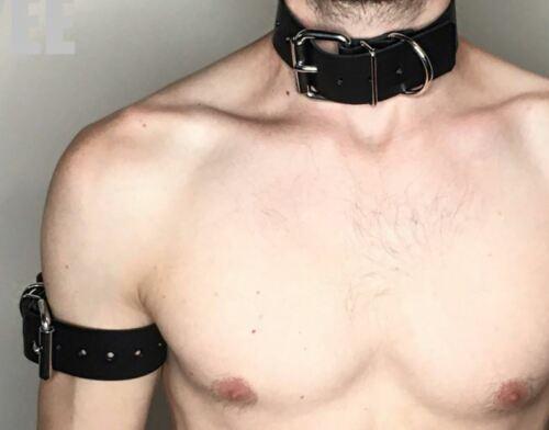 Para hombres Cuero Negro Gargantilla Collar de perro Bondage Cuello Brazal cinturón en la parte superior del Brazo Cuff Gay