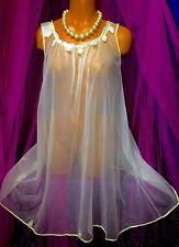 Vintage Peignoir Sweep Nylon Gown Sheer Bridal Chiffon Victorian Satin S M L