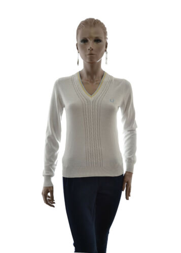 Italy Profili Cotone Donna In Contrasto Lunga Manica Fred Perry A Pullover 0pqgvAAR