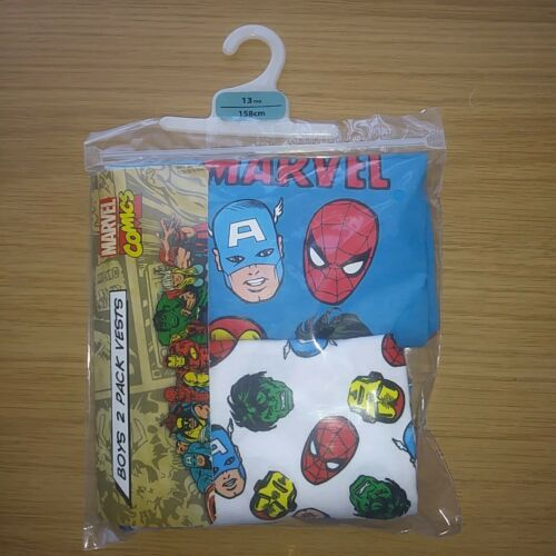 Ragazzi Marvel 2 Pack Gilet Bambino 11-12 anni GRATIS P/&P 100/% cotone ETICHETTE AFFARE.