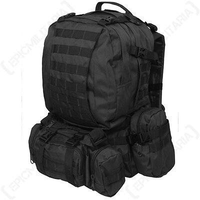 BLACK MOLLE DEFENSE PACK - Webbing Rucksack Backpack Bag Military Army 36L Camp