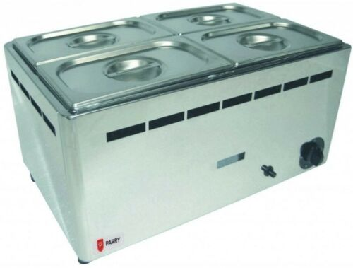 Boxed New Parry BMF1//1G Natural or Propane Gas Wet Heat Bain Marie with Pans