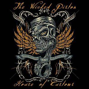 Retro hot rod t shirt wicked piston voodoo skull 1950 car for Custom car club shirts
