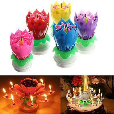 Romantic Musical Lotus Rotating Flower Happy Birthday Party Gift Candle Lights