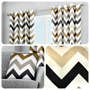 Fusion-CHEVRON-Eyelet-Curtains-Tan-Brown-White-Geometric-Lined-Pair-Ready-Made