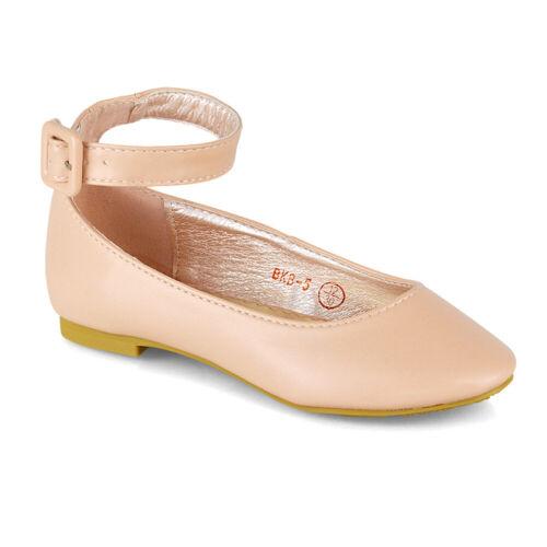 Girls Flat Bridal Party Shoes Children Formal Wedding Evening Ankle Strap Pumps