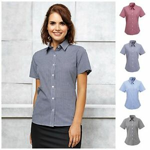 Womens-Fitted-Cotton-Gingham-Check-Short-Sleeve-Formal-Shirt-Work-Blouse-Top