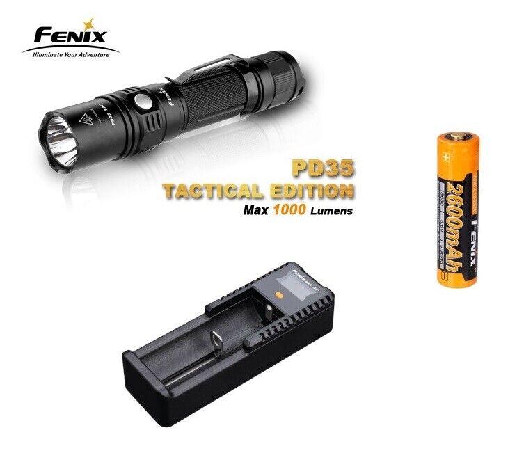 Fenix PD35 TAC Taschenlampe 1000 Lumen Set mit Fenix Akku und Ladegerät