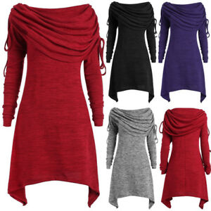 5890e6326f8 Plus Size Womens Fashion Solid Ruched Long Foldover Collar Tunic Top ...