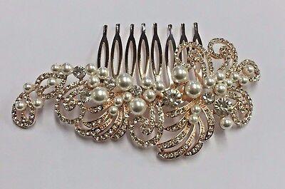Capace Beautiful Vintage Style Crystal & Pearl Rose Gold Hair Comb. Garanzia Al 100%