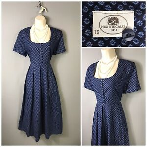 Vintage-Nightingales-Navy-Cotton-Dress-UK-16-EUR-44
