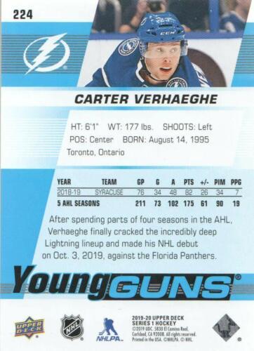 2019-20 UPPER DECK SERIES 1 youngguns #224 carter Verhaeghe-Tampa Bay Lightning