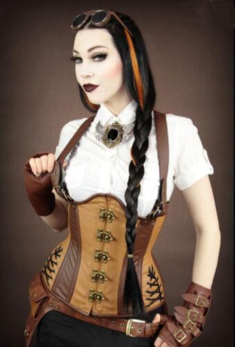 Restyle Steampunk Mieder Kunst-Leder Korsett Pirate Steelboned Korsett Gothic