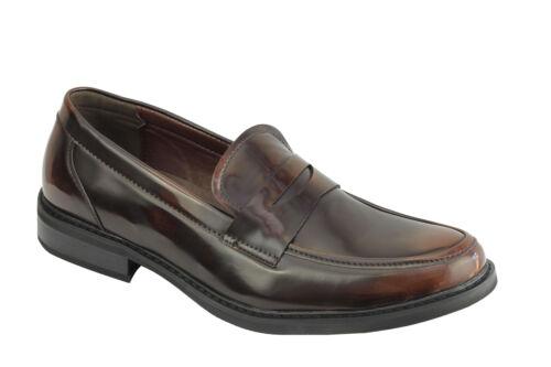 Homme Rétro Vintage Cuir Poli Doublé Smart Casual Penny Mocassins Mod Chaussures