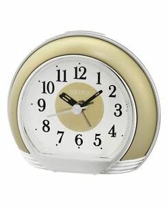 Image Is Loading Seiko Desk Table Alarm Clock Round Shape WHITE