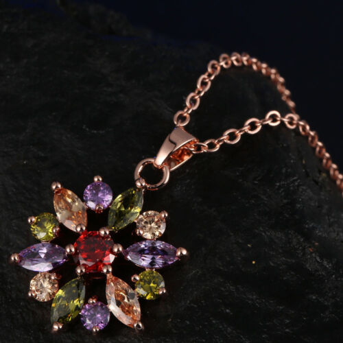 Fashion Mariage Luxe Bijoux Coupe Multi-couleur or rose Plaque Colliers Pendentif