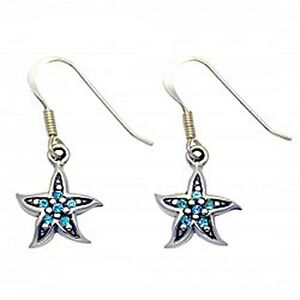 925-STERLING-SILVER-DANGLE-STARFISH-EARRINGS-W-BLUE-AQUA-CRYSTAL-STONES
