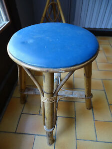 VINATGE TABOURET CHAISE BAR BISTROT BAMBOU ROTIN OSIER SKY ANNEES 70
