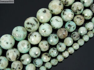 Natural-Kiwi-Stone-Gemstones-Faceted-Round-Beads-15-5-039-039-4mm-6mm-8mm-10mm-12mm