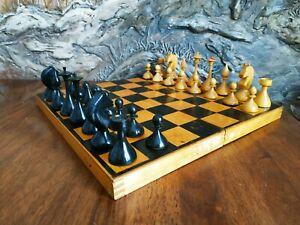 Wooden old chess set 1962 made vintage USSR white black chessmen pieces soviet
